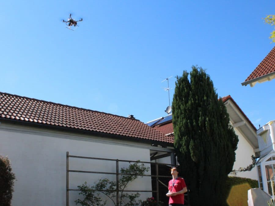 diy drone with dronebridge in the sky